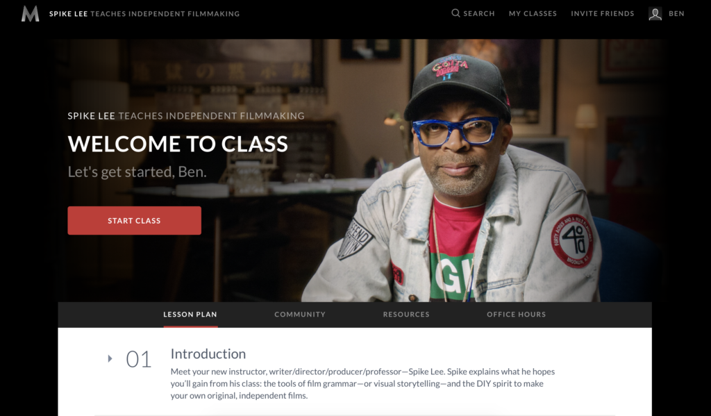 Spike Lee Masterclass Review- Dashboard