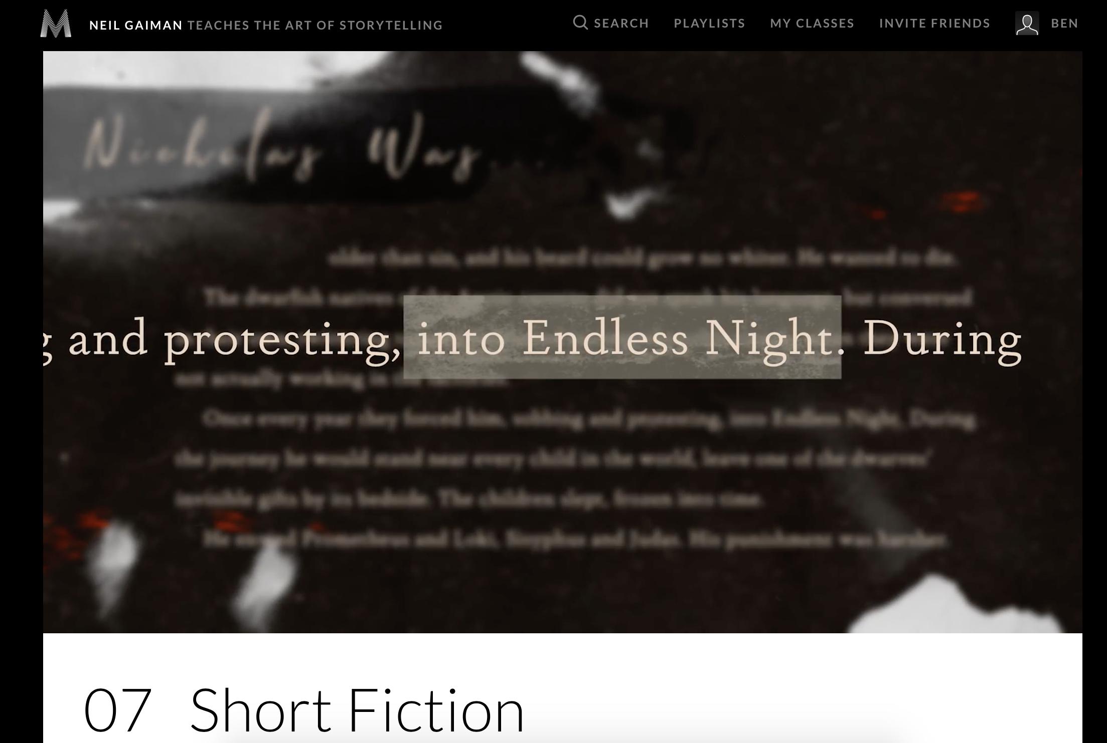 Neil Gaiman Teaches the Art of Storytelling MasterClass Review